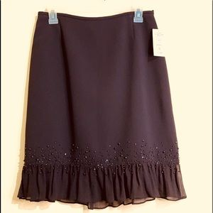 Tahari Arthur S Levin Deep Brown Skirt 6P